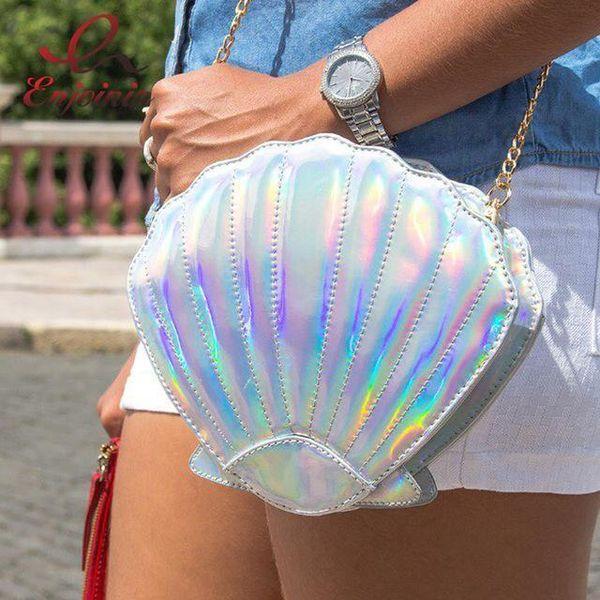 Wholetide- Pop Fun Personalized Fashion Laser Shell Shape Chain Shoulder Bag Purse Girls Lady Crossbody Handbag Mini Messenger Bag Flap