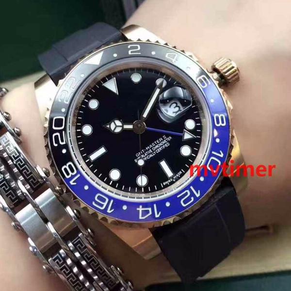 Top De Luxo GMT II Cerâmica Bezel Rose ouro Caso De Aço Inoxidável Pulseira De Borracha Preta Mens Watch Relógios de Pulso