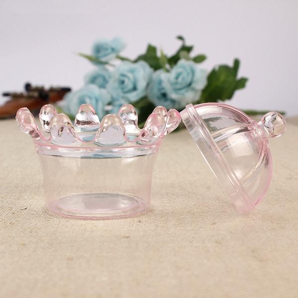 Şeker Kutuları ile Şeffaf Plastik Taç Şekilli 12 adet / grup Bebek Duş Doğum Günü Partisi Favor Kutusu Dekorasyon Olay Parti Malzemeleri