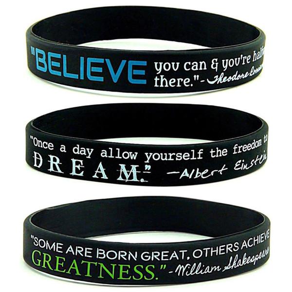 1pc Dream greatness credi focus Silicone Rubber Bracelets wristband Regali sport motivazionali Per Adulti Uomini Donne Diciottenni