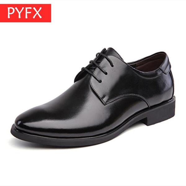 2019 homens de verão lace-up apontou lazer business dress homens sapatos de couro italiano preto clássico mens wedding party dress sapato