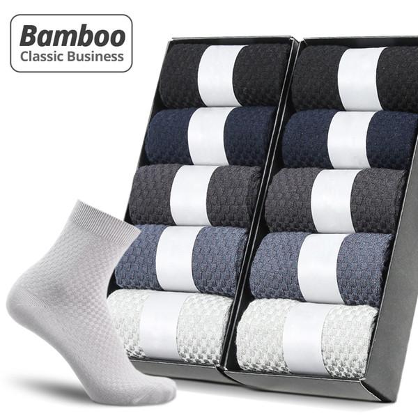 HSS Marke 10 Paare / los Männer Bambusfaser Socken New Classic Business Lange Socken Herren Kleid Socke Für Winter Geschenk Plus Größe EUR39-45MX190902