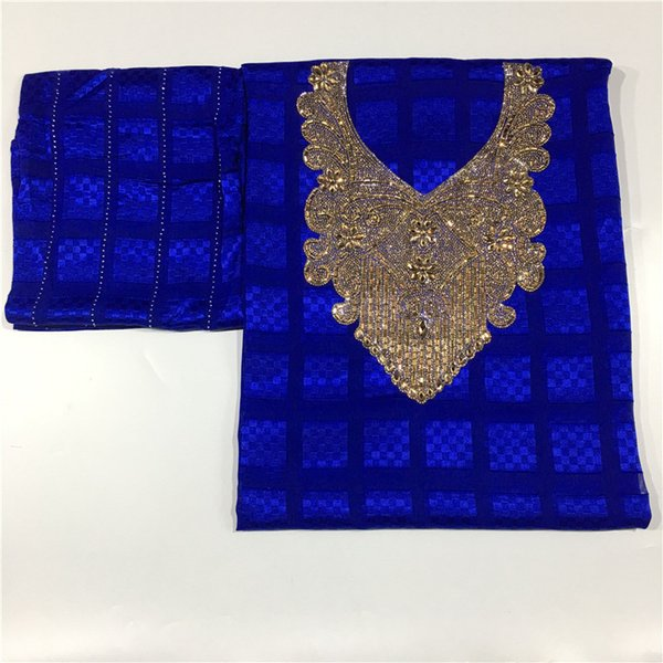 High quality silk fabric for lady dress embroidered george silk fabric African metallic 114cm/8mm 5+2 yards 12L02285