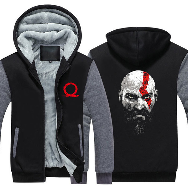 winter Hoodies God Of War Kratos Graphic Men women Warm autumn clothes sweatshirts Zipper jacket fleece hoodie