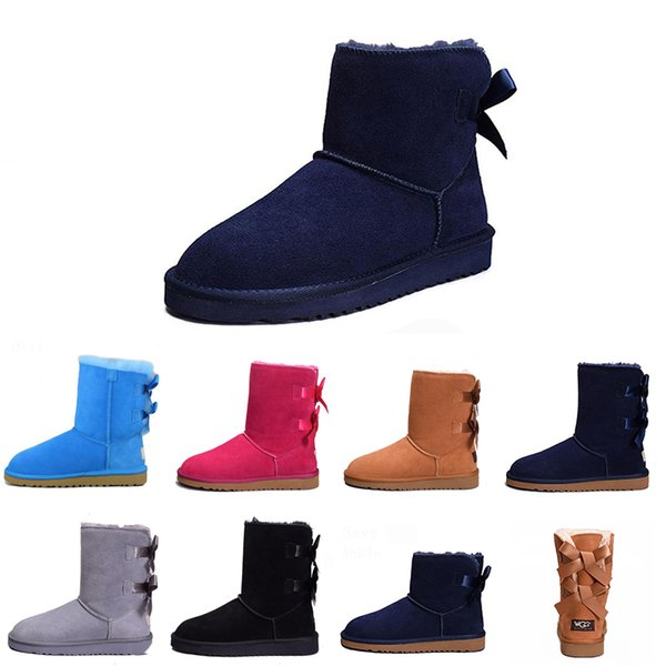 Cheap Snow Winter WGG Leather Women Australia Classic kneel half Long Boots Ankle Black Grey chestnut navy blue red coffee Womens girl shoes