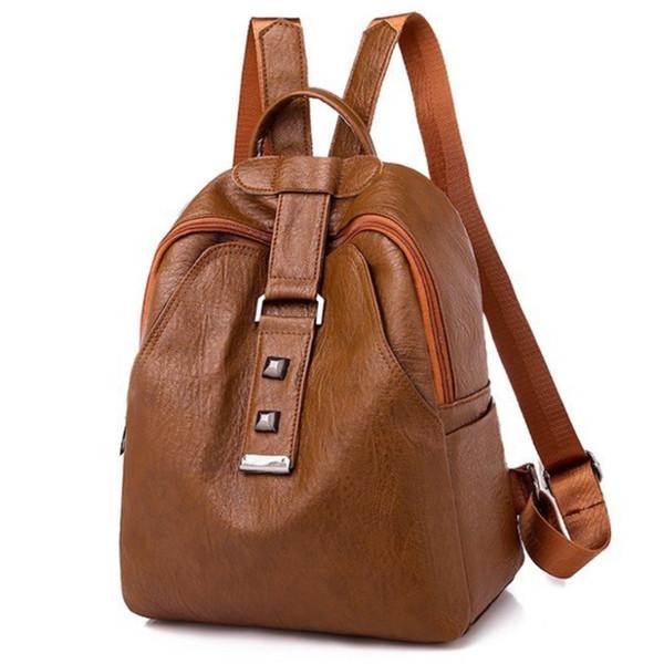 Рюкзак для женщин Vintage PU кожаный Back Pack Школьные сумки для девочек-подростков защиты от угона Multi-Function Bagpack Mujer