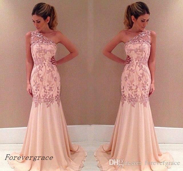2019 Glamorous Chiffon One Shoulder Mermaid Prom Dress Cheap Lace Formal Holidays Wear Graduation Evening Party Gown Custom Made Plus Size
