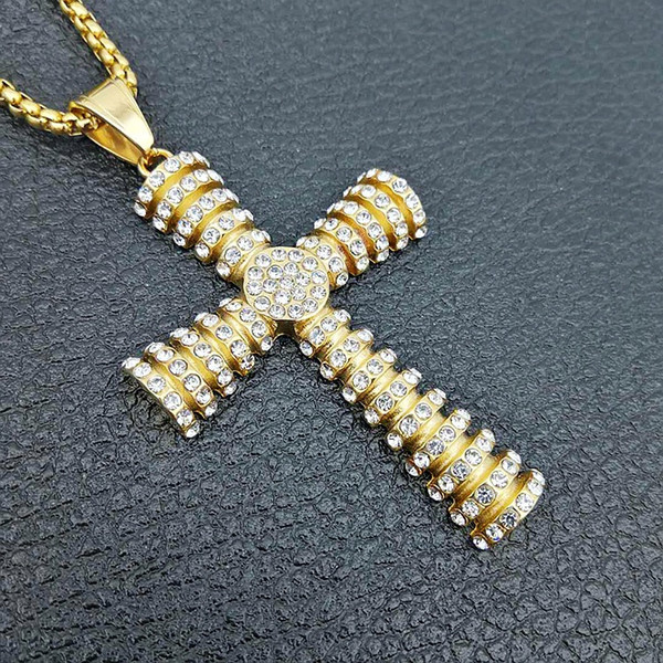 Diamond Cross Pendant Necklace Hip Hop Jewelry Gold Choker Iced Out Chains Mens Titanium Steel Necklace