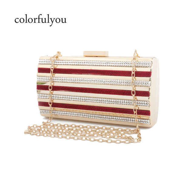 Shining Rhinestone Women Handbag Striped Pattern Evening Shoulder Messenger Bags Wedding Party Purse Metal Hasp Clutch Wallets