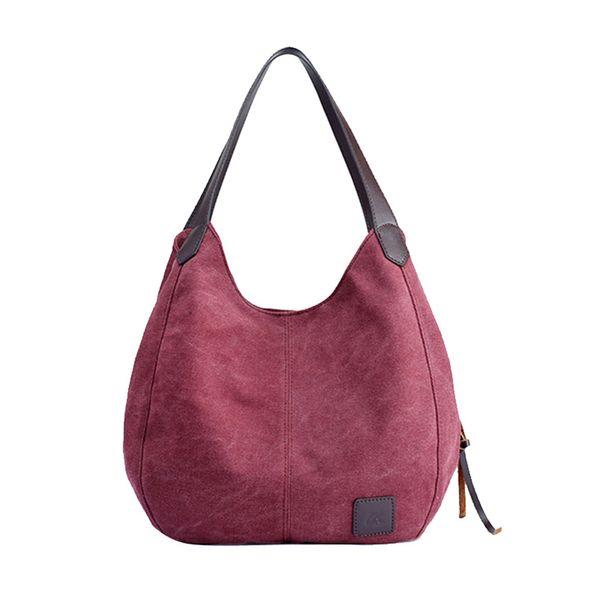 2019 Women's Canvas Handbags Female Hobos Single Shoulder Bags Vintage Solid Multi-pocket Ladies Totes Messenger Bags#T3