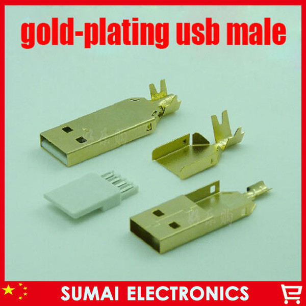 Digital Cables Data Cables 10sets/lot gold plating DIY 3 in 1 Type A 2.0 USB 4 Pin Male Plug Socket Connector