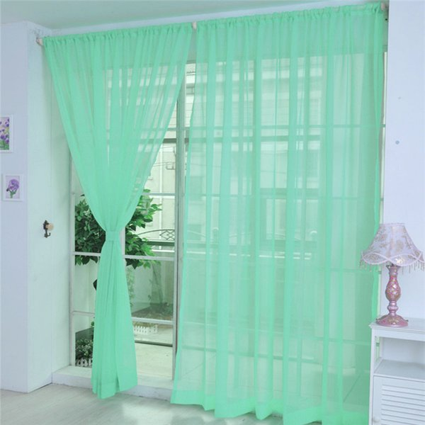 2019 2020 Curtain Pure Color Tulle Door Window Curtain Drape Panel Sheer Scarf Valances Motor Merry Christmas Gift From Hymen 35 4 Dhgate Com