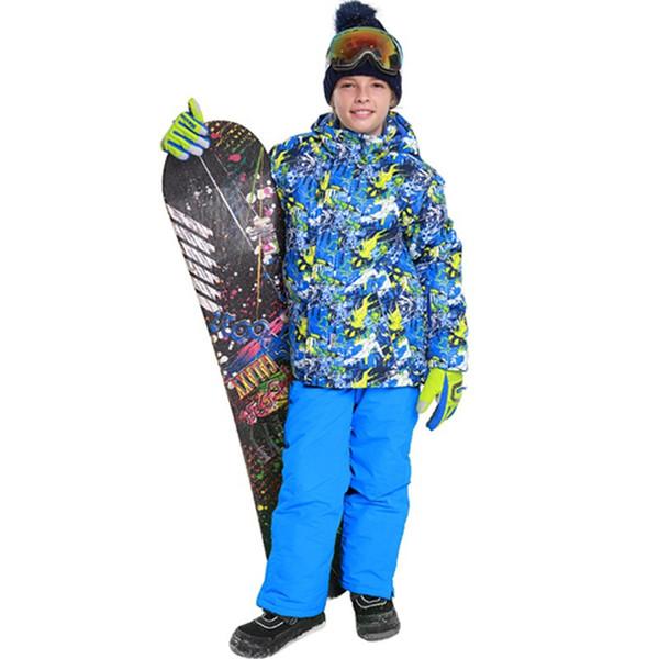 Brand Boys Snowboard Sports Ski Suits Sets Kids Winter Warm Waterproof Windproof Outdoor Hooded Ski Jacket + Pants