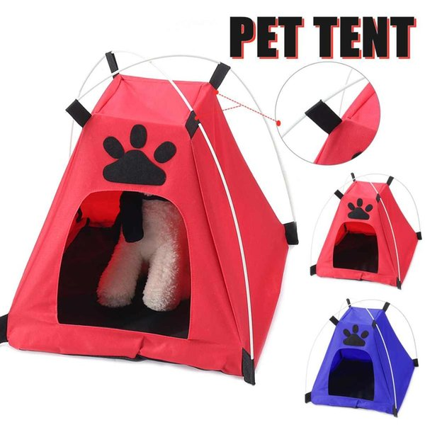 Portable Folding Pet Tent Dog House Cage Dog Cat Tent Playpen Puppy Kennel Easy Operation Oxford Kennel Tents Outdoor Supplies