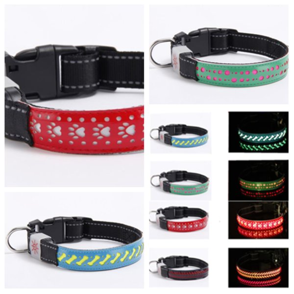 Nuevo estilo 4 L, S, M tamaño elegante perro y gato collares con cuero collares Led collares para mascotas collares resplandor correa para mascotas T2I5117