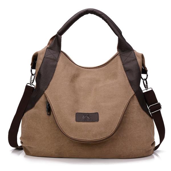 New fashion brown large capacity diagonal retro messenger canvas lady bag