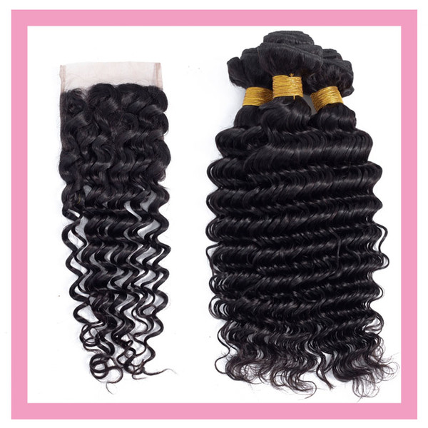 Indian Virgin Hair Products 8-28inch vague profonde 4 Pièces Uniques Ensemble Bundles Avec 4X4 Dentelle Fermeture Wih bébé cheveux Trames avec fermeture Moyen Trois
