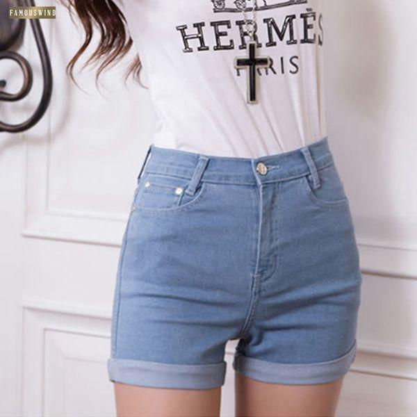 Nuevo estilo coreano cortocircuitos de las mujeres de la vendimia del verano el 100% de algodón pantalones vaqueros de talle alto dril de algodón delgado del tamaño estiramiento Turn Ups Mujer