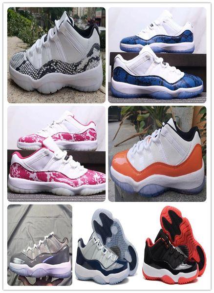 Con scatola 11 Low Navy Blue Snakeskin Orange Trance Mens Scarpe da basket 11s Low WMNS Pink Snakeskin Sports Sneaker Boot shippment gratuito