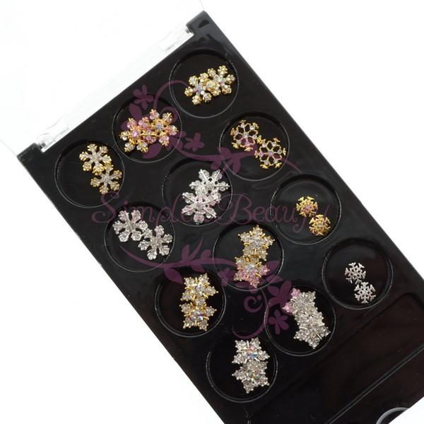 1 Set 3D Xmas Lega Charms Fiocco di neve Oro Argento placcato Rhinestones di cristallo Decor FAI DA TE Salon Nail Art Jewelry Accessorio per manicure