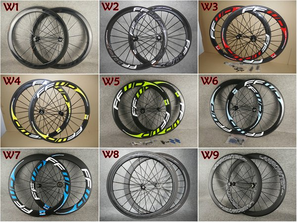 Top sale 7 color 700c 3K/UD FFWD 50mm carbon road bike wheels with 23mm width Black Novatec A271 hubs free shipping