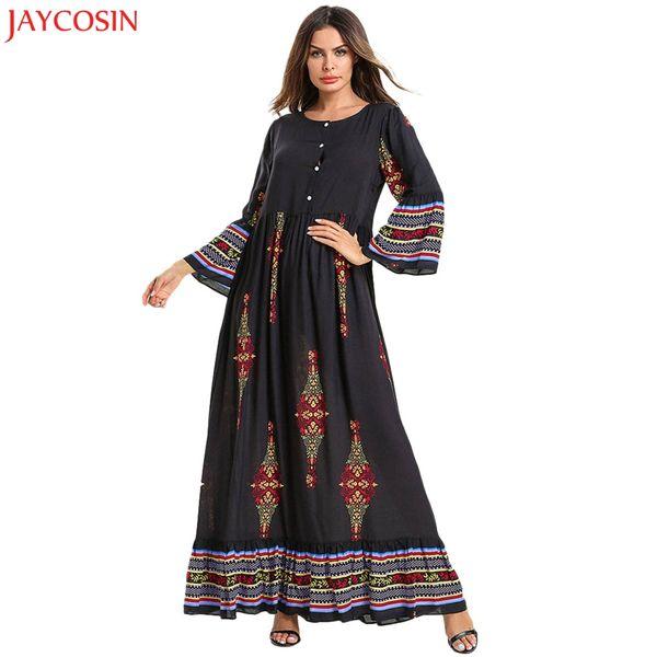 JAYCOSIN Women Muslim Floral Print Long Cotton Maxi Dress Abaya Jilbab Dubai Kaftan Robe Islamic Black muslim dress plus size z4