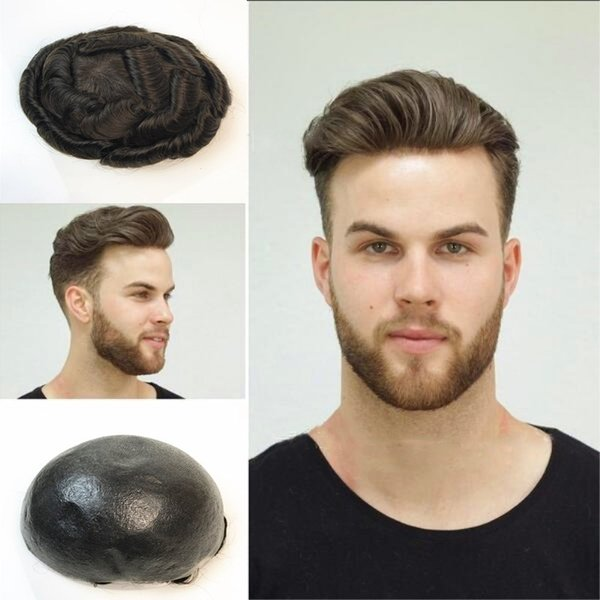 Thin Skin Toupee For Men Full Pu Human Hair Men Toupee Replacement System V Loop Skin 8x10 Wave Straight Men Wigs