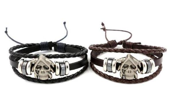 Leather Bracelet For Women Mens Charms Bracelets Bangles Hand Woven Braided Rope Genuine Leather Chain Bead Bracelet Infinity Bracelets 187