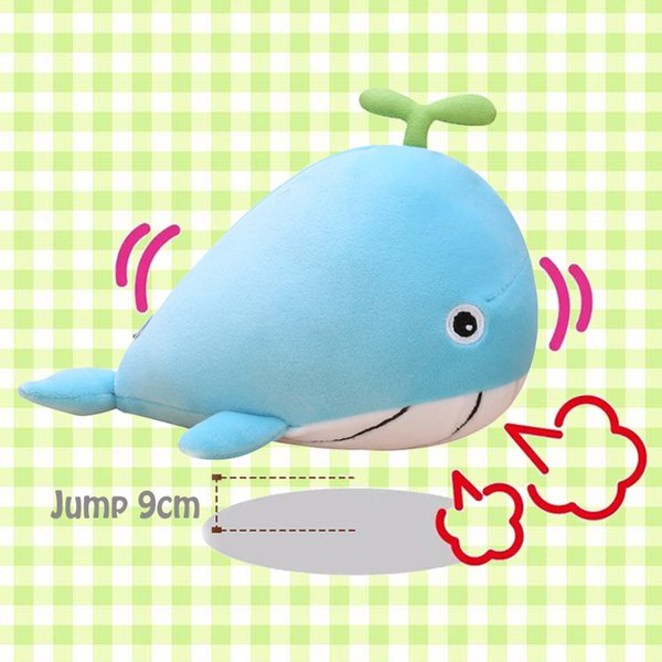 Baby Whale Electric Song Plush Dolls with Tempo Control, Stuffed Animals Doliphin Shape Jumpping Ball, Interactive Preschool Plush Toy,Blue