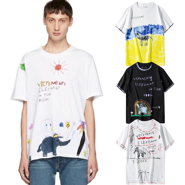 2019 Vetements Tişört Fil Odaya Baskı Kısa Kollu Tee Renkli Crayon Çizim 100% Pamuk Gömlek Erkek Kadın Streetwear LWI0412