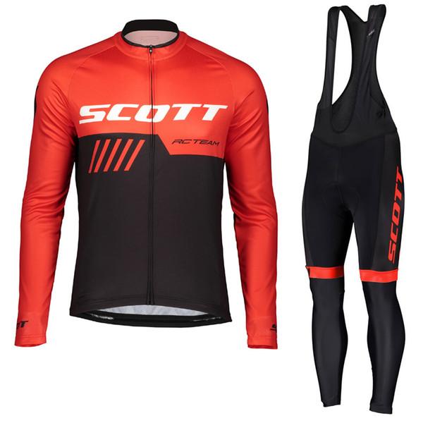 SCOTT team Cycling long Sleeves jersey bib pants sets Full Zipper Bike Clothing Outdoor sports Comfortable mens clothes Q60955