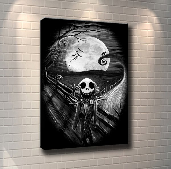(Unframed/Framed) Nightmare Before Christmas Jack,1 Pieces Canvas Prints Wall Art Oil Painting Home Decor 24X36.
