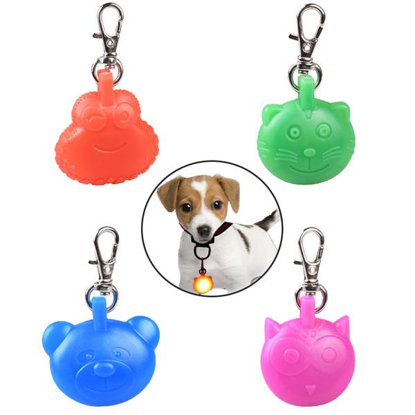 Dog Collar Led Glowing Pendant Safety Night Walking ID Light Cartoon Dog Cat Pet Accessories Flashing Keychains Pet Supplies