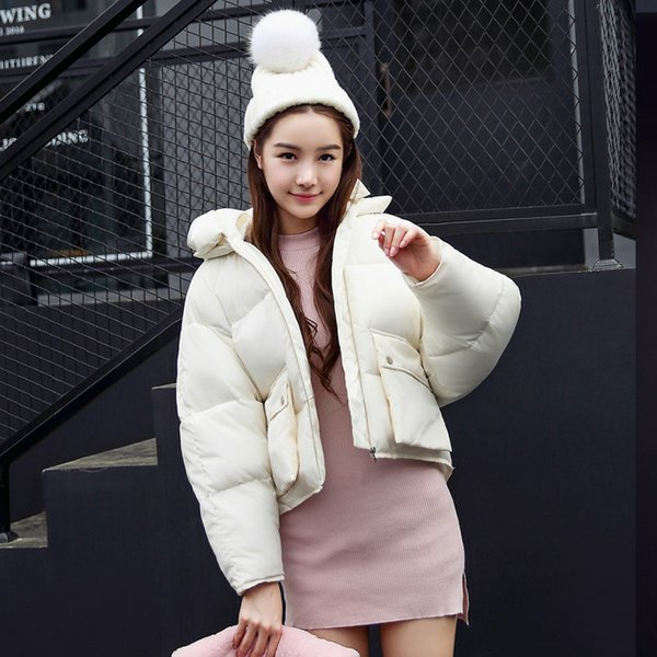 Fashion Winter Women Jackets Short Design Cute Cotton Padded Pink Coats Causual Warm Hoodies Loose Padded Parkas Casaco Feminino