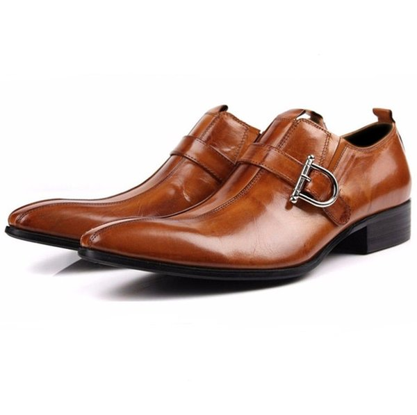 CLORISRUO Large Size EUR45 Brown / Black Pointed Toe Loafers Men Dress Shoes Genuine Leather Business Shoes Male Wedding Groom S
