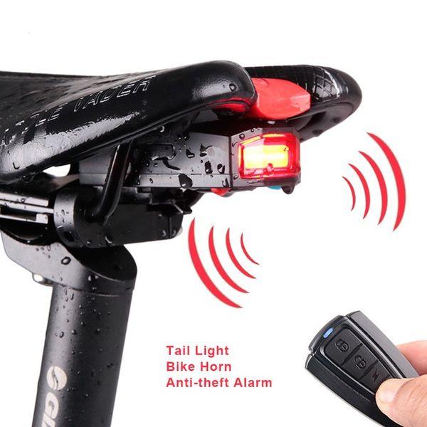 4 en 1 Bicicleta Bicicleta trasera Luz trasera Cerradura de seguridad Antirrobo Alarma inteligente Control remoto inalámbrico LED Bike Tail Lamp con cuerno