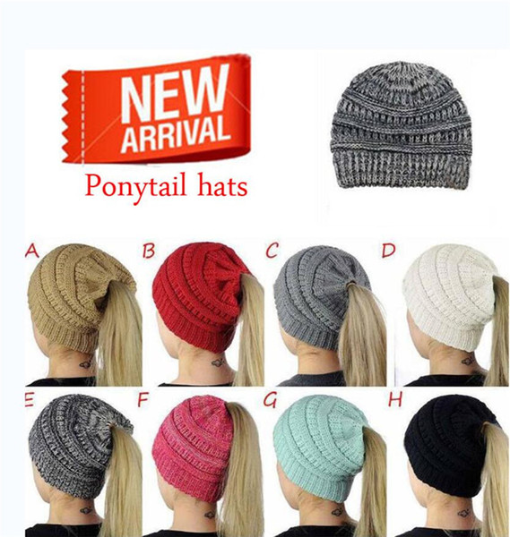 6de4d34e4ade Hot wholesale ponytail hat women's crochet winter warm hat women's knit hat