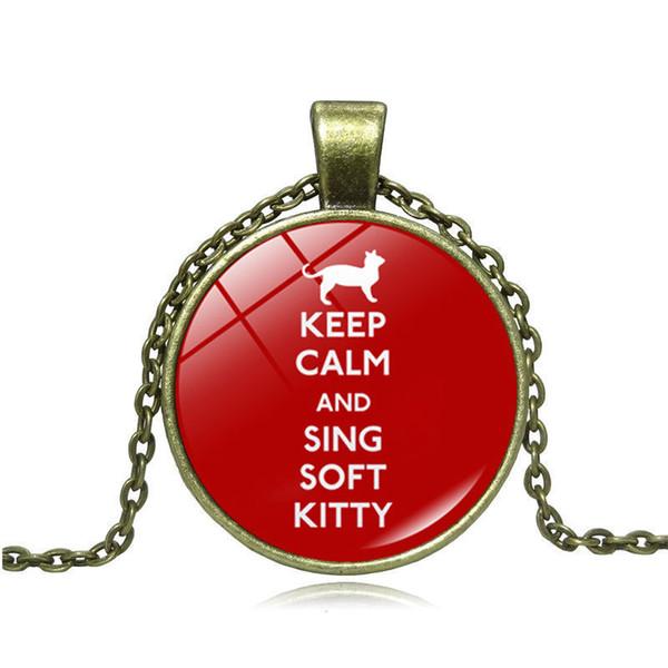 2019 новый творческий кулон ожерелье сохранять спокойствие и петь мягкий котенок время драгоценный камень кулон ожерелье свитер цепи ювелирные изделия оптом