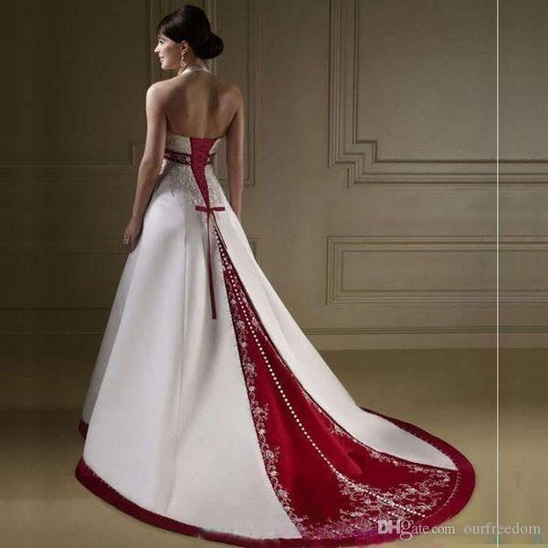 Elegante cuello halter blanco y rojo vestidos de boda bordado capilla tren corsé vestidos de novia de novia por encargo para la iglesia