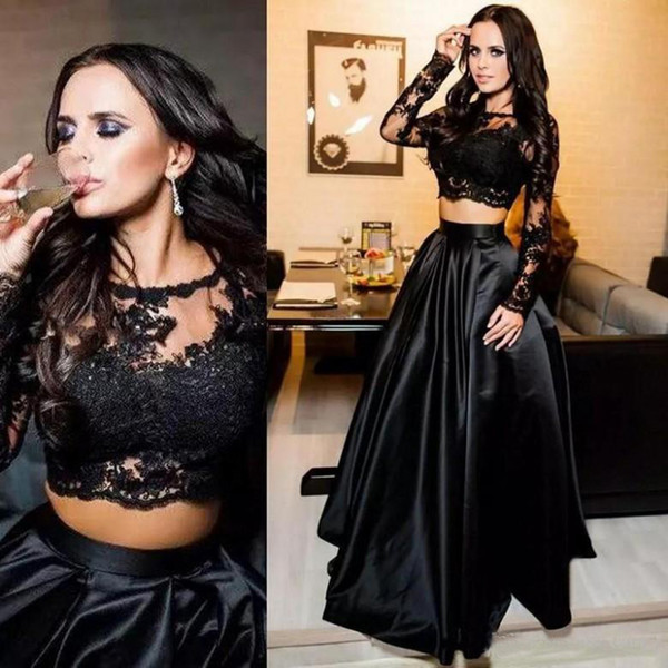 241e348637a65 Cheap Two Piece Black Prom Dresses Evening Wear Jewel Neck Lace Applique Long  Sleeve Satin Formal