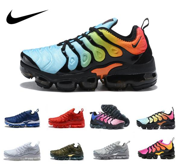 best service 56ad2 62b19 2019 Nike Air Max Vapormax TN Plus Zapatillas de deporte para hombre Negro  Blanco Azul Gris