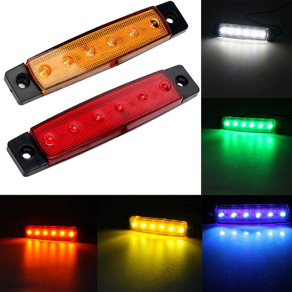 6 SMD LED Red White Blue Amber Clearence Car Truck Bus Lorry Trailer Side Marker Indicators Rear Light Lamp 24V 12V