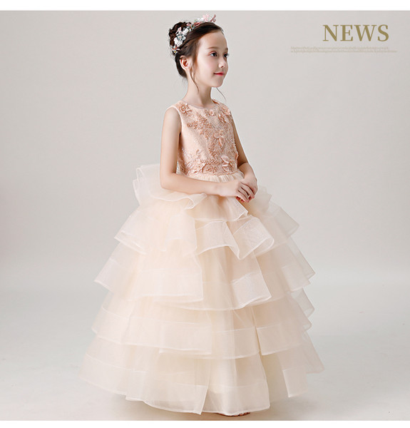 Recém Princesa Vestido De Baile Rendas Flor Menina Vestidos 2019 Mangas Até O Chão Vestidos Pageant Vestidos de Primeira Comunhão de Tule