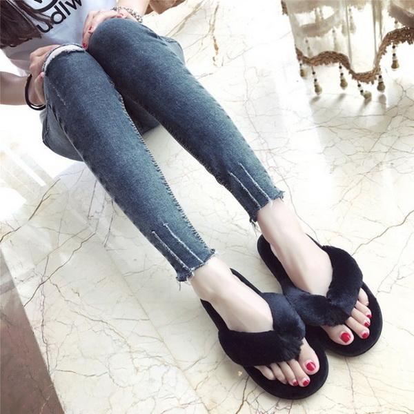 Ma'am fashion Plush Slipper Pure color Flip flops Home Furnishing Non-slip Autumn and winter Cotton towing