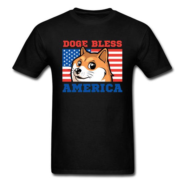 Doge Abençoe camisetas Grupo da rua T Shirt Dia do Trabalho mais novo T-shirt O Neck Mapa da bandeira de homens do cão América Bandeira Impresso T-shirt EUA