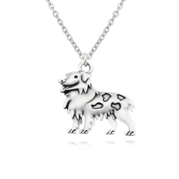 Vintage Gümüş Avustralya Çoban Köpek Kolye Charm Kolye Boho Gerdanlık Kadınlar Takı Paslanmaz Çelik Zincir Aksesuarları Pet Lover Collier
