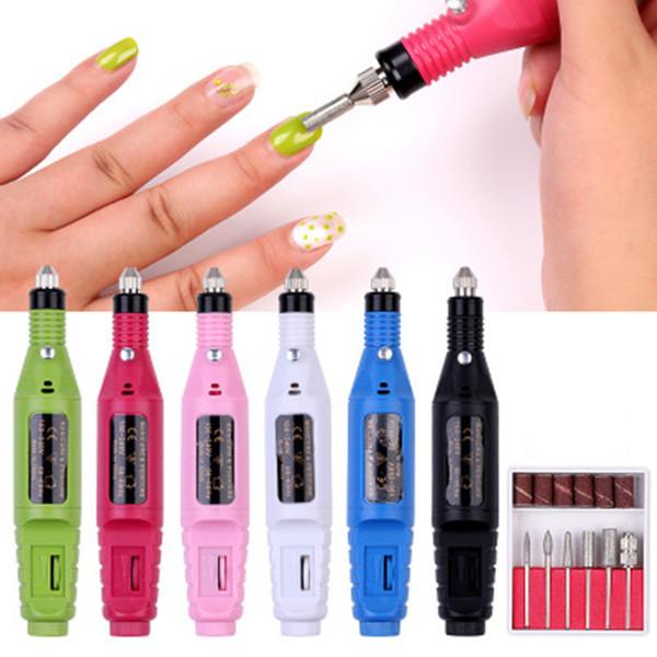 1 set trapano chiodo elettrico macchina professionale manicure pedicure gel rimozione kit forte nail art pen 6 bit lucidatura fasce del mulino
