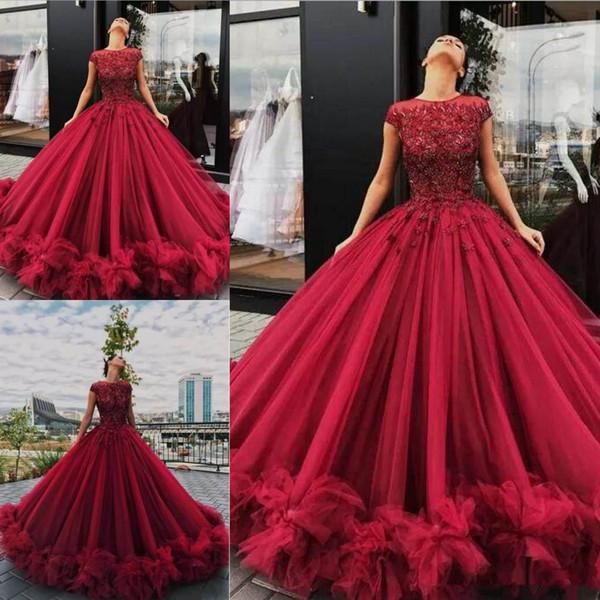 I nuovi abiti Quinceanera rosso scuro con fiori 3D abito di pizzo Appliques arruffati gioiello manica corta lungo abiti da cerimonia dolce classico 16
