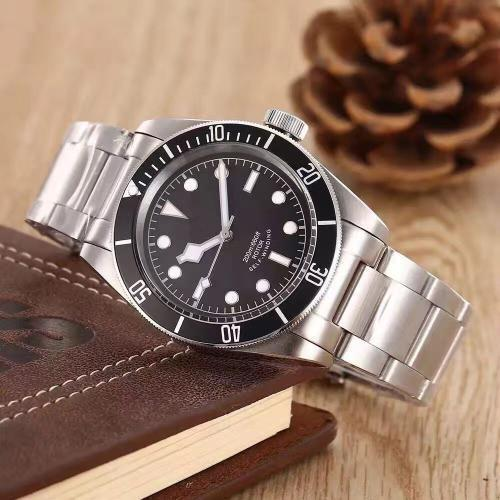 Reloj para hombre, acero inoxidable, movimiento automático, mecánico, rojo, bisel, esfera negra, corchete sólido, relojes de hombre.