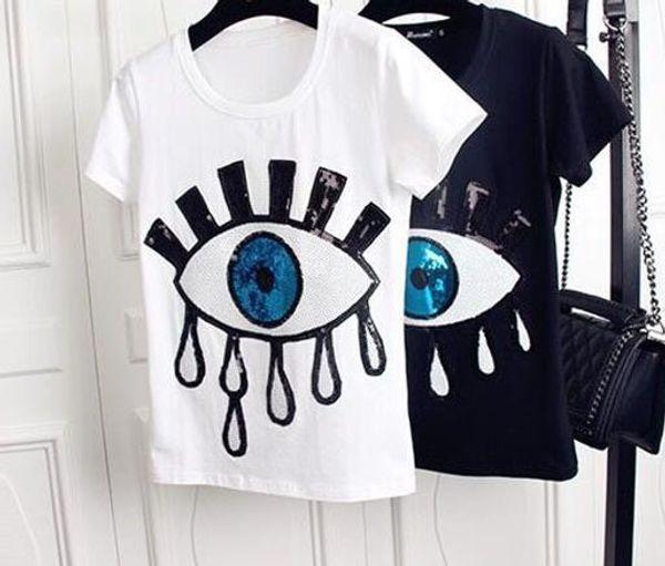 Big Eyes Womens Designer Tshirts Moda Applique Bordado Tops Camisas de Manga Curta Bonito Casual Meninas Undershirt